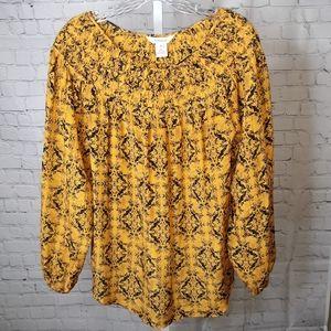 Sundance Mustard Yellow Smocked Silk Blouse - M